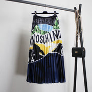 Fashion Lettering Print Colorblock Pleated Skirt wq40