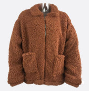 Fashion faux fur long sleeve stand collar pocket loose plush coat