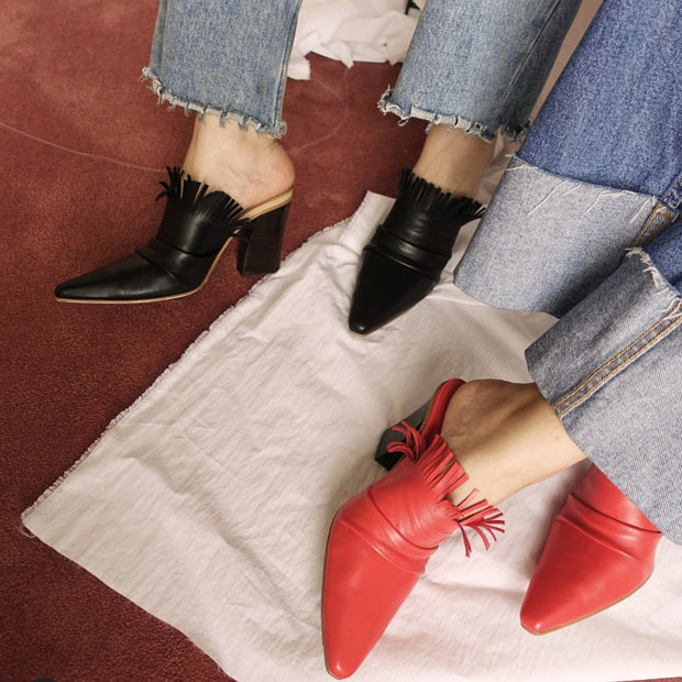 Fashion block heel pointed slippers