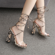 Leopard Cross Straps With High Heel Shoes