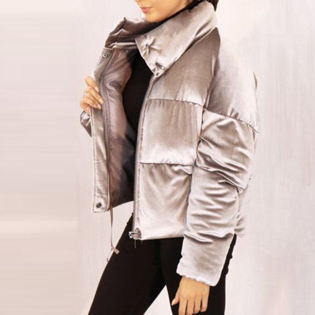 Street stand collar solid color long-sleeved velvet jacket ywy24