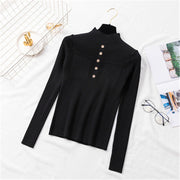 Fashion Pure Color Single Breasted Sweater