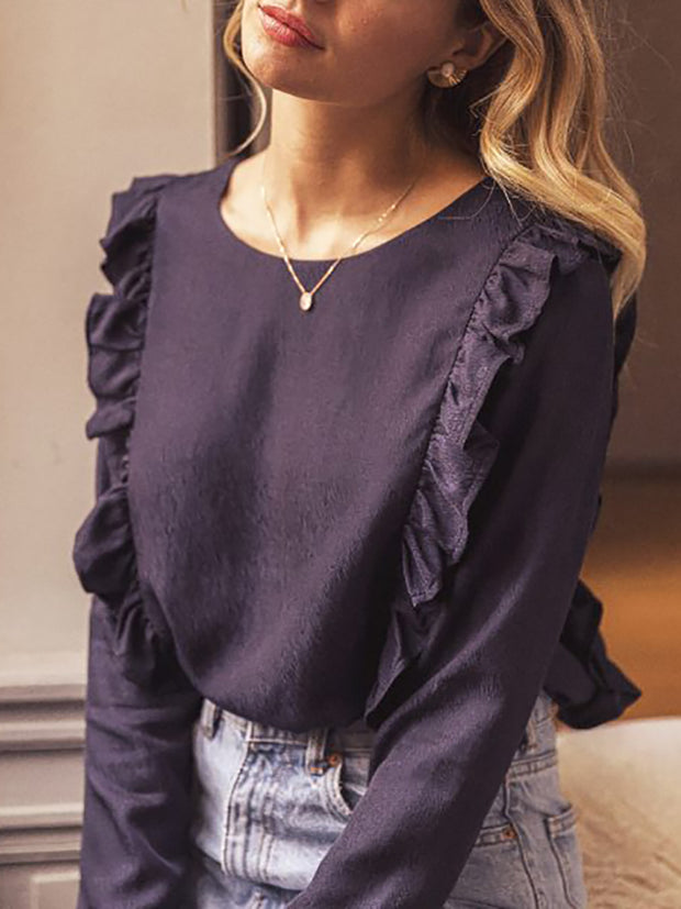 Women's Fashion Casual Solid Color Ruffle Blouse YJ23