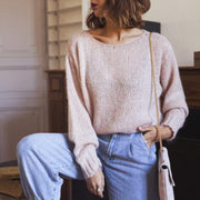Women's Fashion Round Neck Solid Knit Sweater YJ22