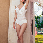 Women's Casual Ruffled Skinny Lace One-Piece Swimsuit ZRS21