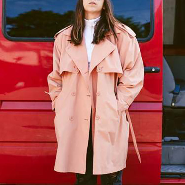 Women's Fold Collar Solid Color Trench Coat ywy23