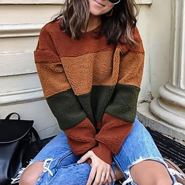Round Neck Long Sleeve Brown Sweater