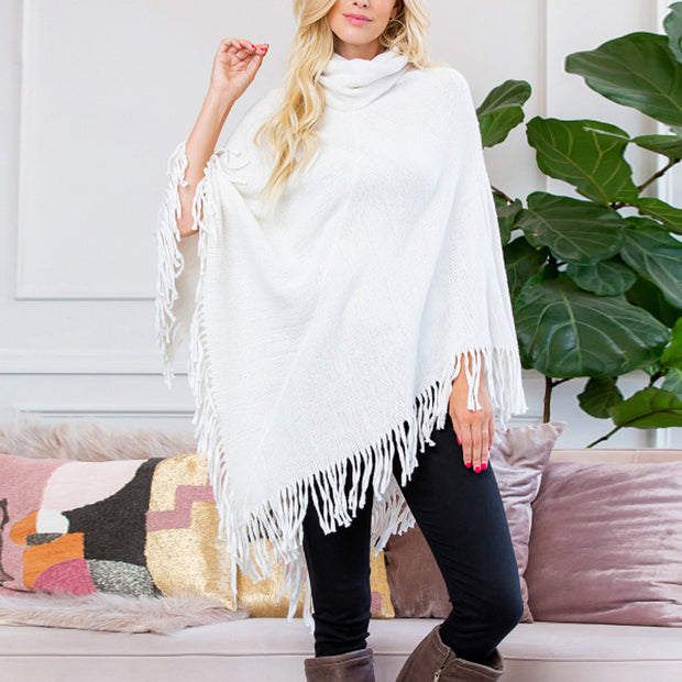 Women's Fashion Stacked Collar Tassel Design Shawl BJ75