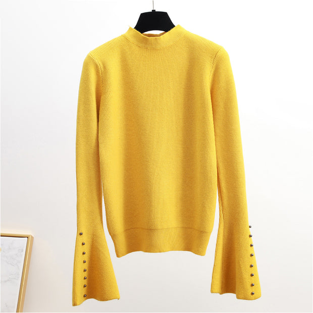 Casual Pure Color Round Neck Knit Sweater