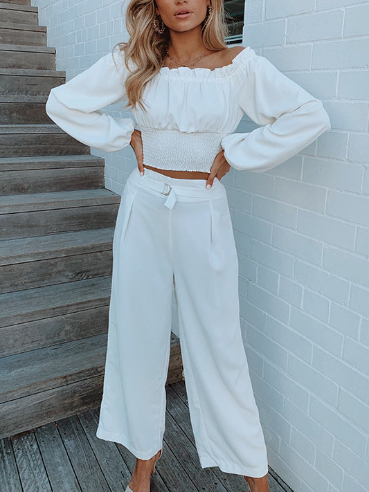 Small Square Collar Solid Color Pants Set(Video)