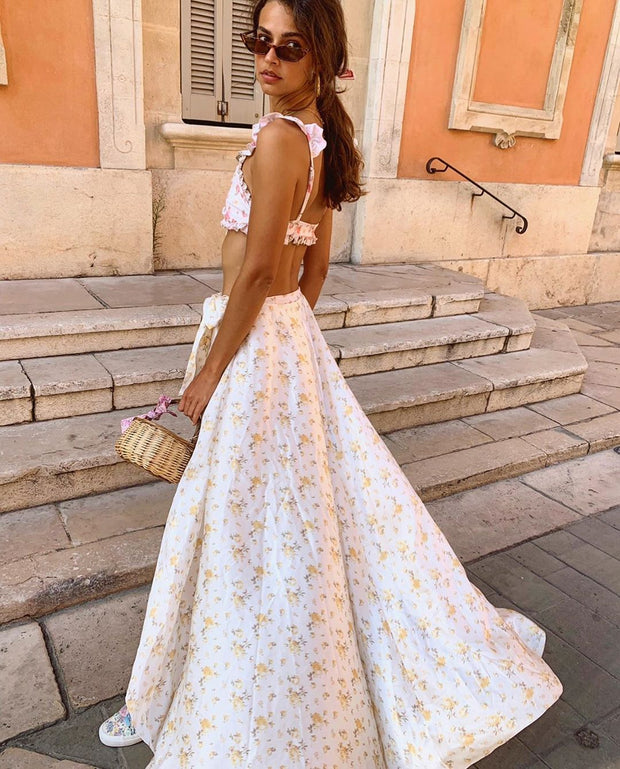 Sexy Floral Printed Ruffled Sling Dress Suit