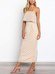 Polka-Dot Sling Top Dress Two-Piece Suit