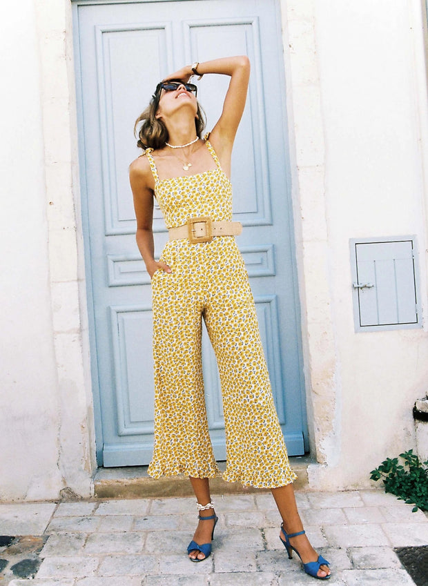 Glamorous Splicing Ruffled Floral Pattern Jumpsuits