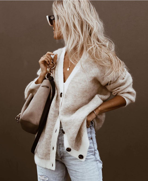Casual Solid V-Neck Knit Cardigan
