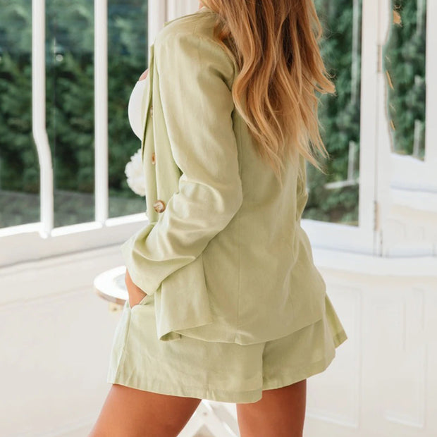 Ladies Fashion Fold Collar Solid Color Coat Shorts Set wq36