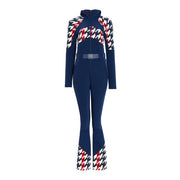 Houndstooth panel jumpsuit