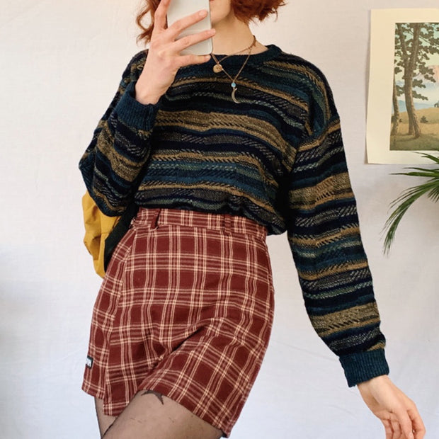 Women's Fashion Round Neck Striped Long Sleeve Sweater BJ66