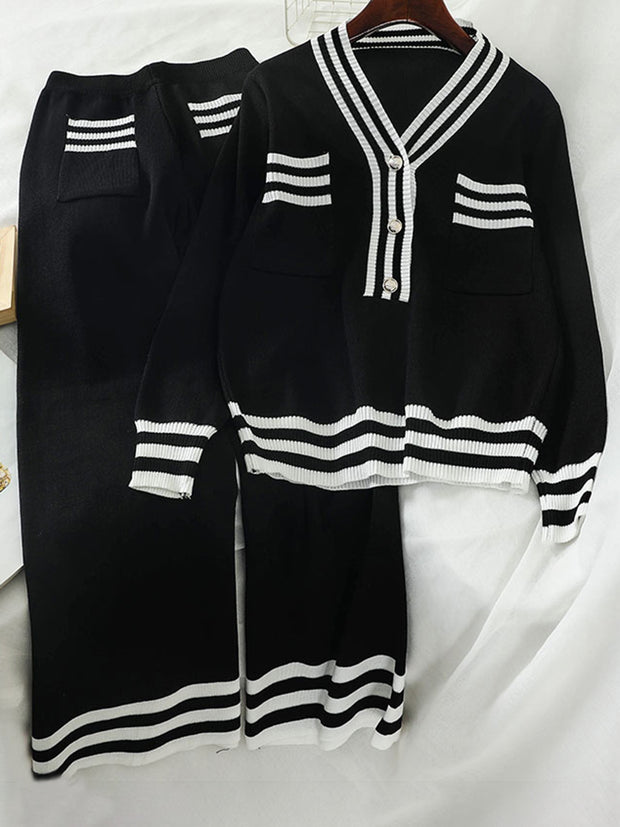 Women's Casual V-Neck Single-breasted Striped Long Sleeve Suit