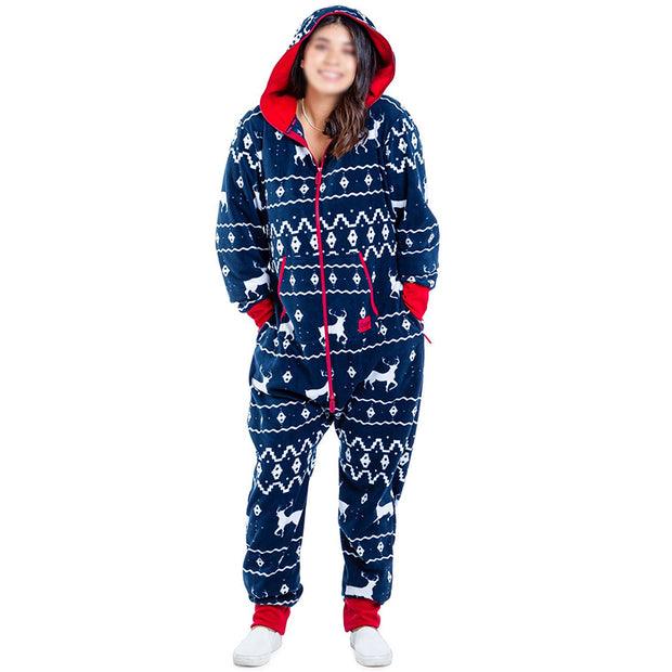 Women's Fashion Christmas Printed Long Sleeve Hooded Jumpsuit ugly BJ71
