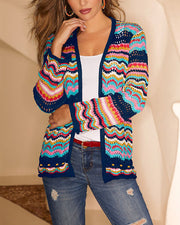 Color sweater knit cardigan RY05