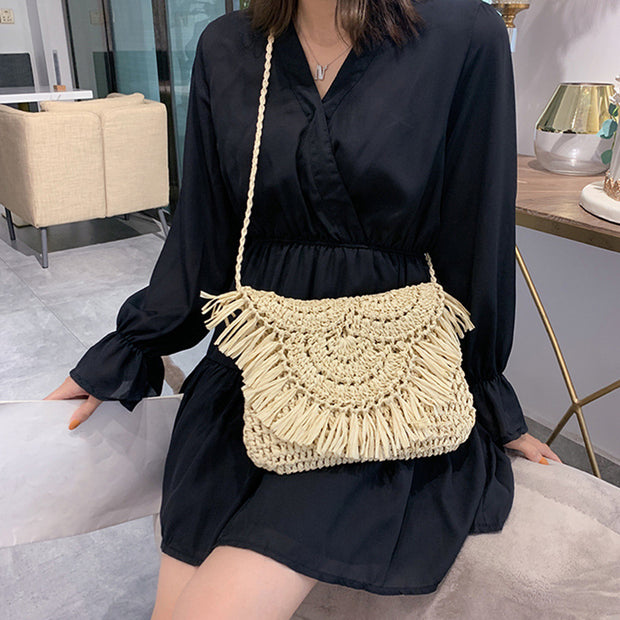 Fringed straw braided hand-woven bag BJ-09