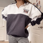 Fashion solid color splicing printing sweatshirt RY53