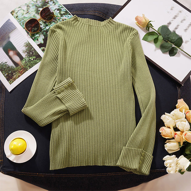 Women's simple pure color button trumpet sleeve sweater