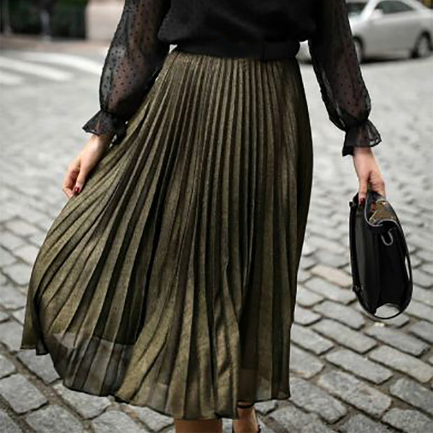 Women's Fashion Pure Color Pleated Skirt ywy26