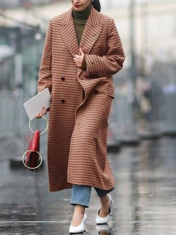 Women causal plaid lapel collar overcoat DWQ37