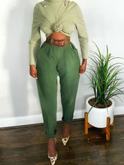 Women's pure color high-waisted casual pants RY65