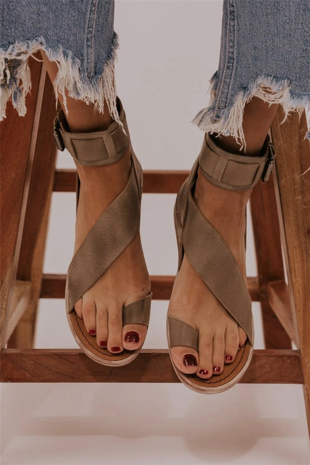 Hollow buckle strap toe casual sandals women