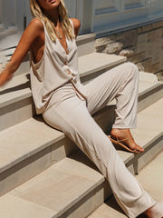 Casual breasted jacket with wide-leg pantsuit wq36