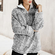 Casual Pure Color Stand Collar Sweatshirt