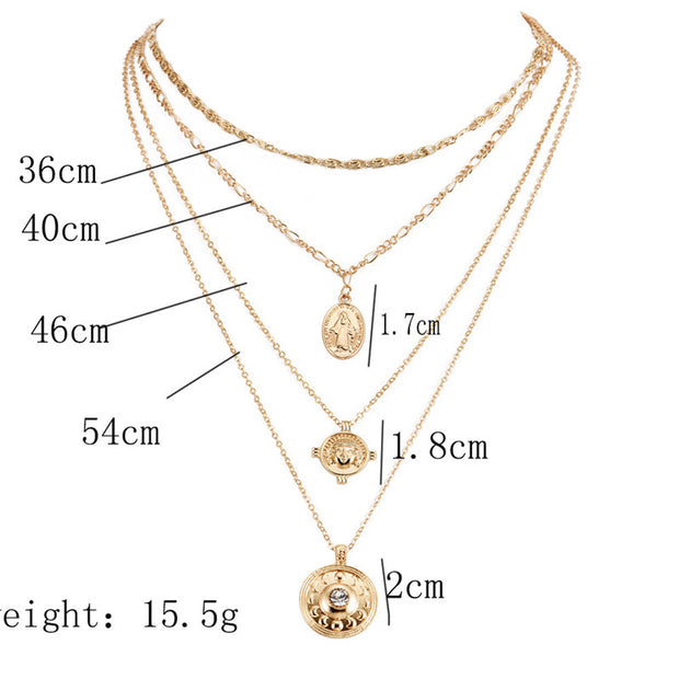 Alloy Multilayer Human Head Pendant Necklace