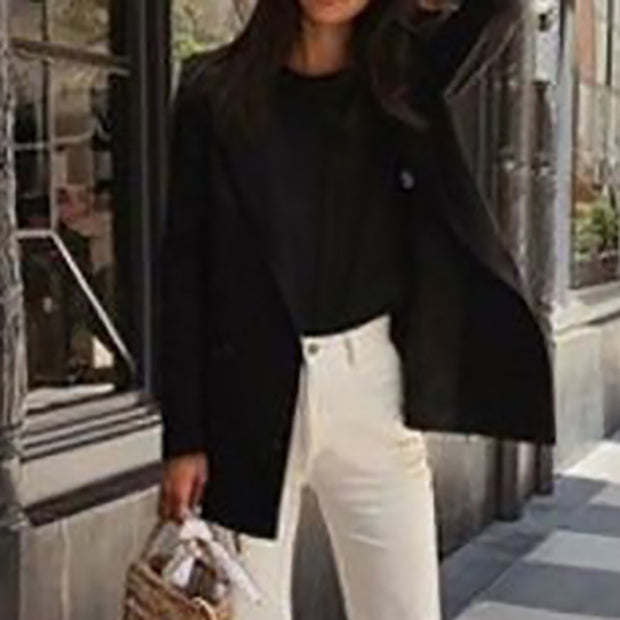 Stylish simple lapel long sleeve solid color blazer ywy14
