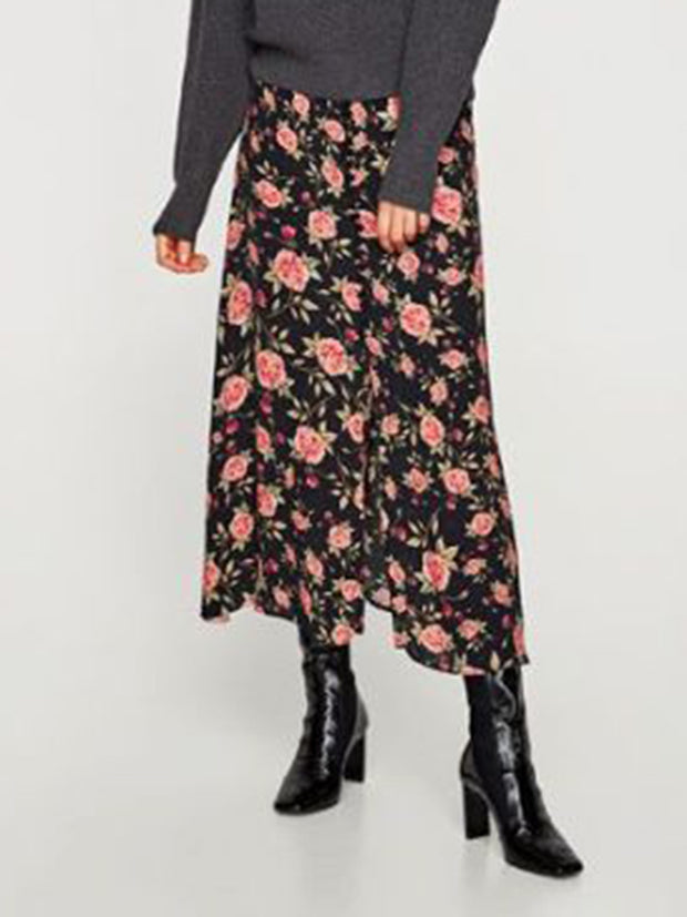 Women's Casual Floral Print Skirt ywy26