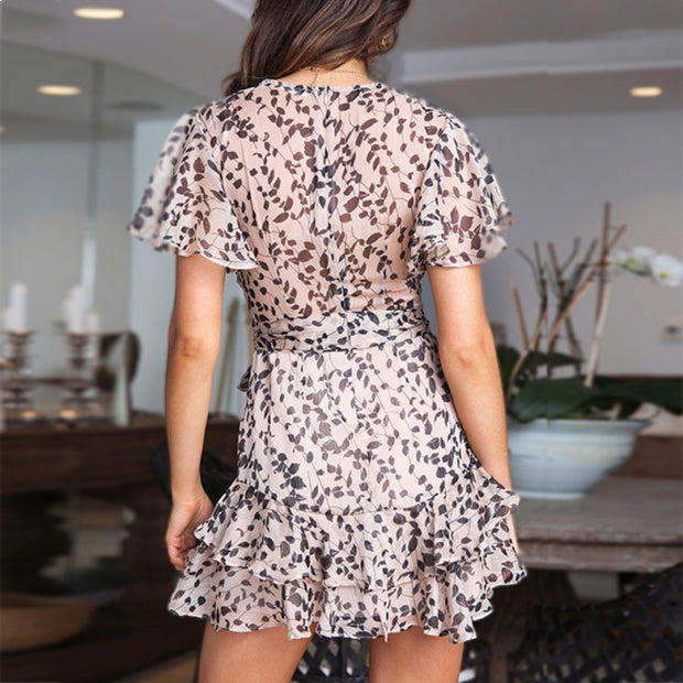 Sexy deep V skirt floral ruffled skirt for lady wq36