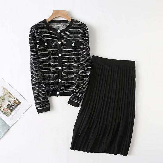 Women's round collar long sleeve knitted casual suit wq34
