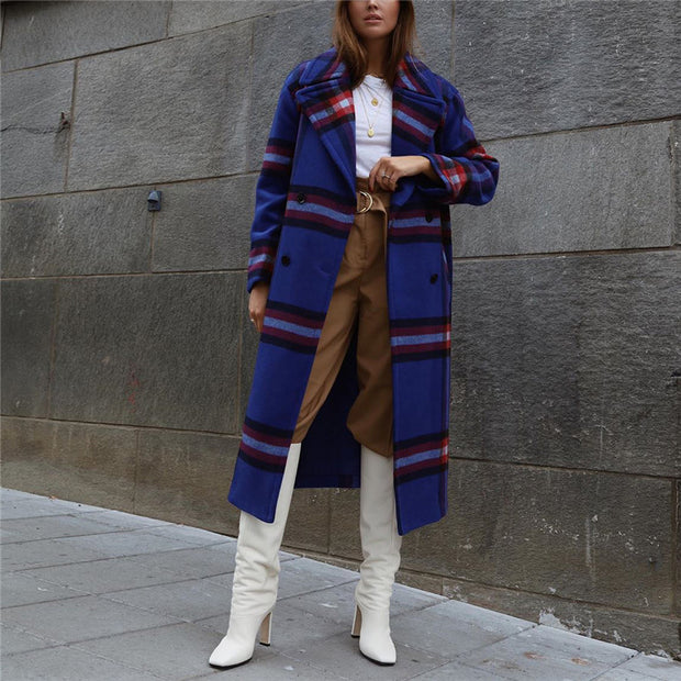 Fashion Contrast Color Double-Breasted Long Coat dwq37