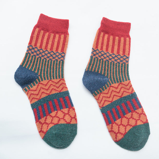Retro national style geometric thickened socks