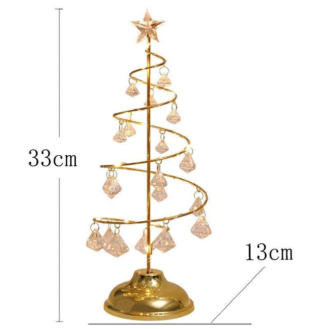 LED Christmas Tree Table Lamp Battery Power Modern Crystal Desk Decor Light Bedroom Living Room Table Lights