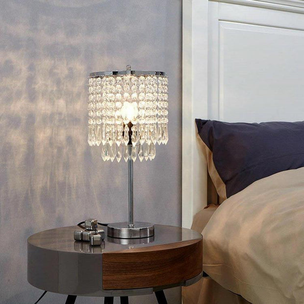 LED Iron Crystal Bedside Table Lamp for Living Room Loft Personal Office Dressing Table Home Interior Decorative