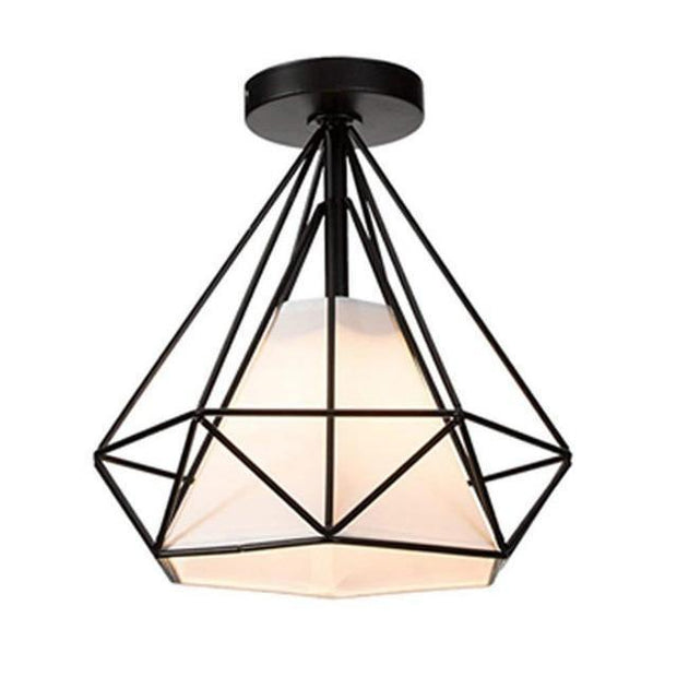 20cm Vintage Industrial Rustic Flush Mount Ceiling Light Black / White Metal Lamp Fixture Nordic Style Creative Retro Light Lamp