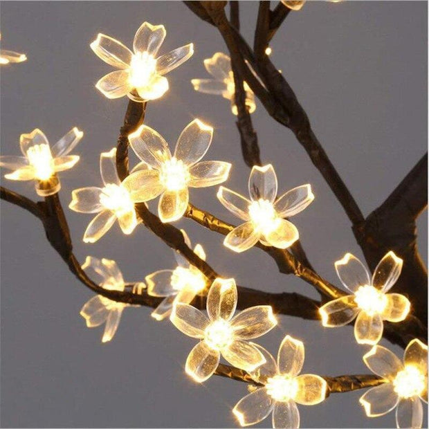 Cherry Blossom Flower Led Table Lamp Warm White LED String Fairy Lights Crystal Flowers For Indoor Decor