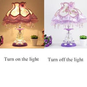Dimmable LED Bedroom Crystal Table Lamp Bed Lamp Modern Home Decoration Stain Glass Light Switch Table Lamps
