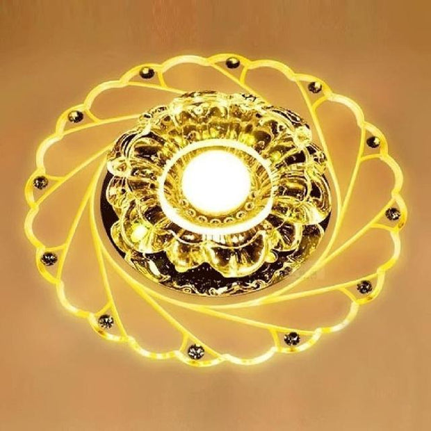Modern LED Crystal Ceiling Light Circular Mini Ceiling Lamp Rotunda Light For Living Room Aisle Corridor Kitchen