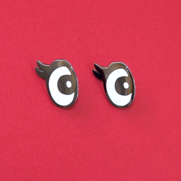 Pair of Eyes Enamel Pins - Close Up