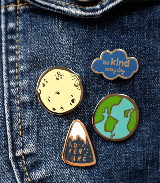 Moon or Planet Earth Explore Enamel Pin - Group Shot
