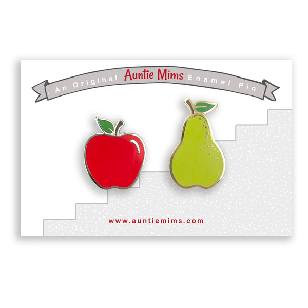 Apples and Pears Enamel Pin Set - a Unique gift and original gift from Auntie Mims ideal for Christmas