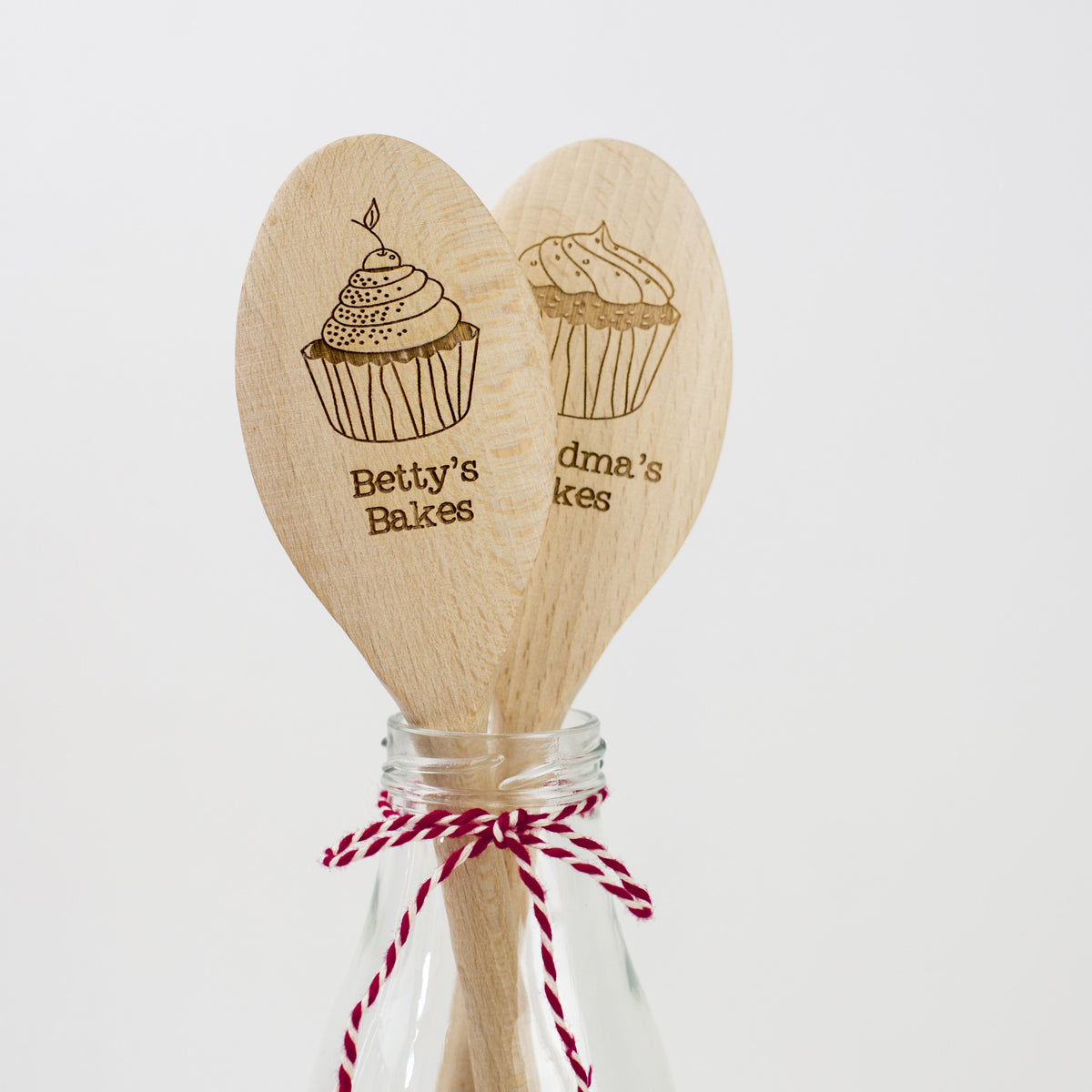 Personalised Wooden Cupcake Spoon - Pair of Spoons